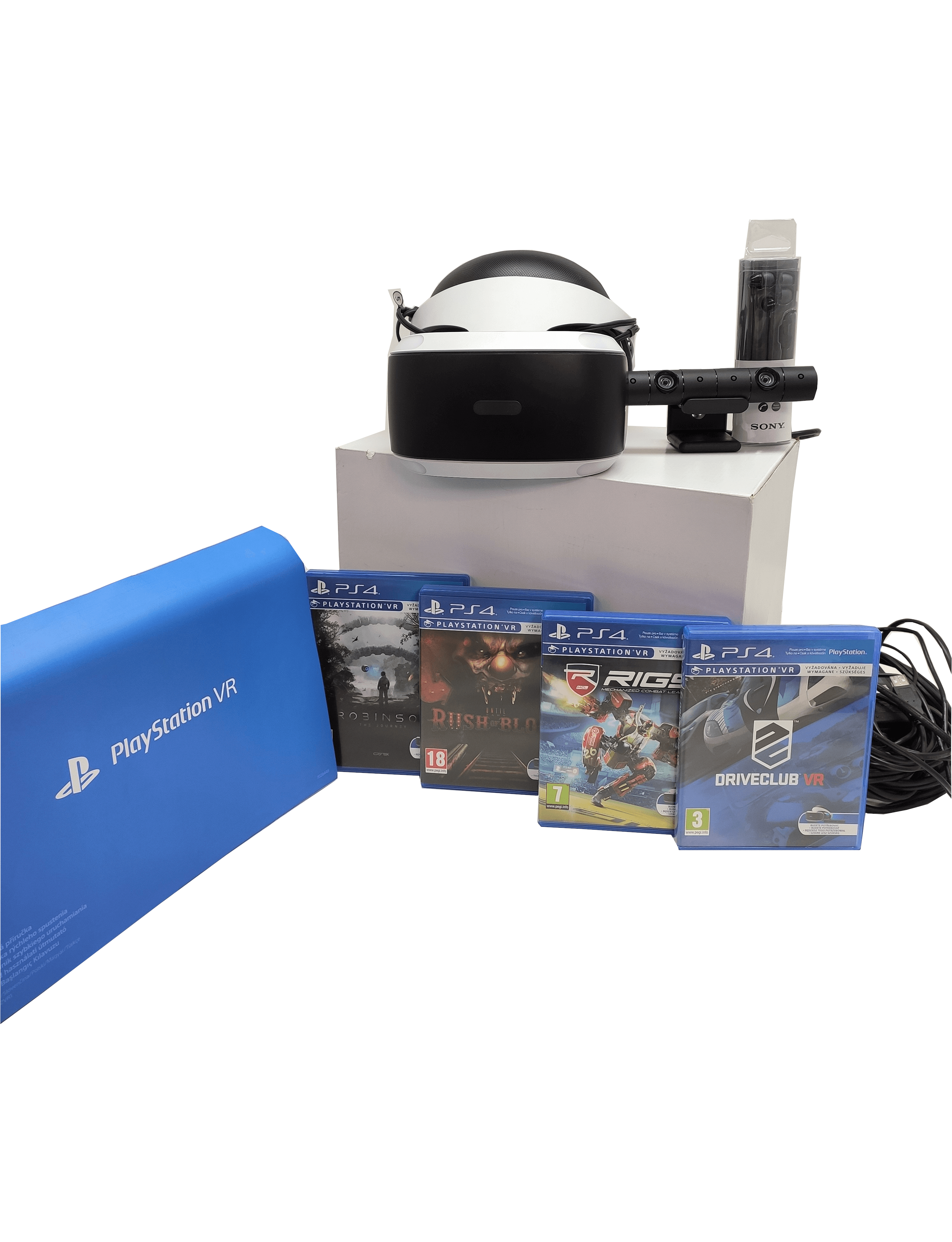 SONY GOGLE VR PS4 + KAMERA + 4 GRY VR | ROBINSON - THE JOURNEY | DRIVERCLUB | RIGS: MECHANIZED COMBAT LEAGUE | RUSH OF BLOOD
