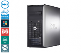 DELL 755 TOWER PENTIUM DUAL CORE 2,4 E2220 / 2048 MB / 80 GB / DVD-RW SYSTEM WINDOWS 10 REFURBISHED PL