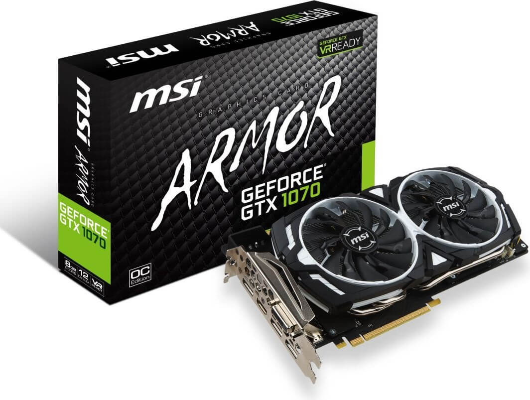 MSI GEFORCE GTX 1070 ARMOR OC 8GB GDDR5 256 BIT WYSOKI PROFIL OUTLET